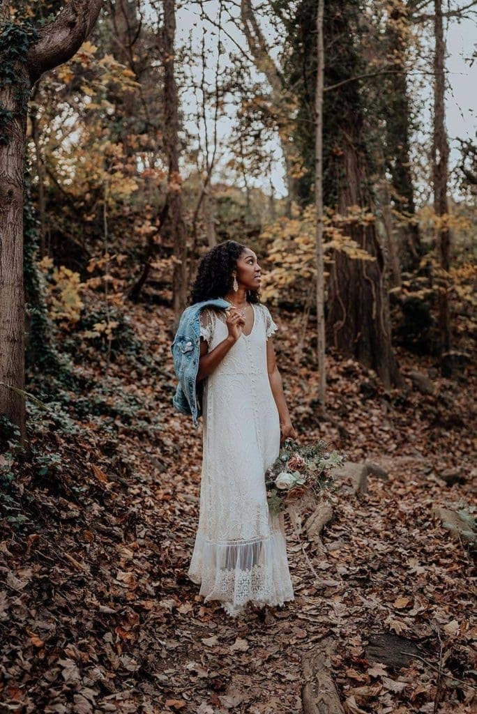 A portrait of an eloping bride in a forest, photographed by virginia elopement photographer, Flit Photography