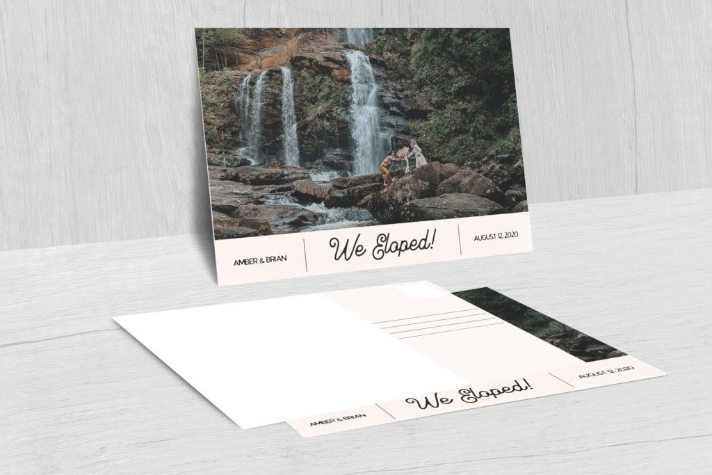 An elopement announcement postcard