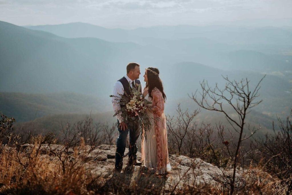 A couple eloping on a mountaintop in Virginia