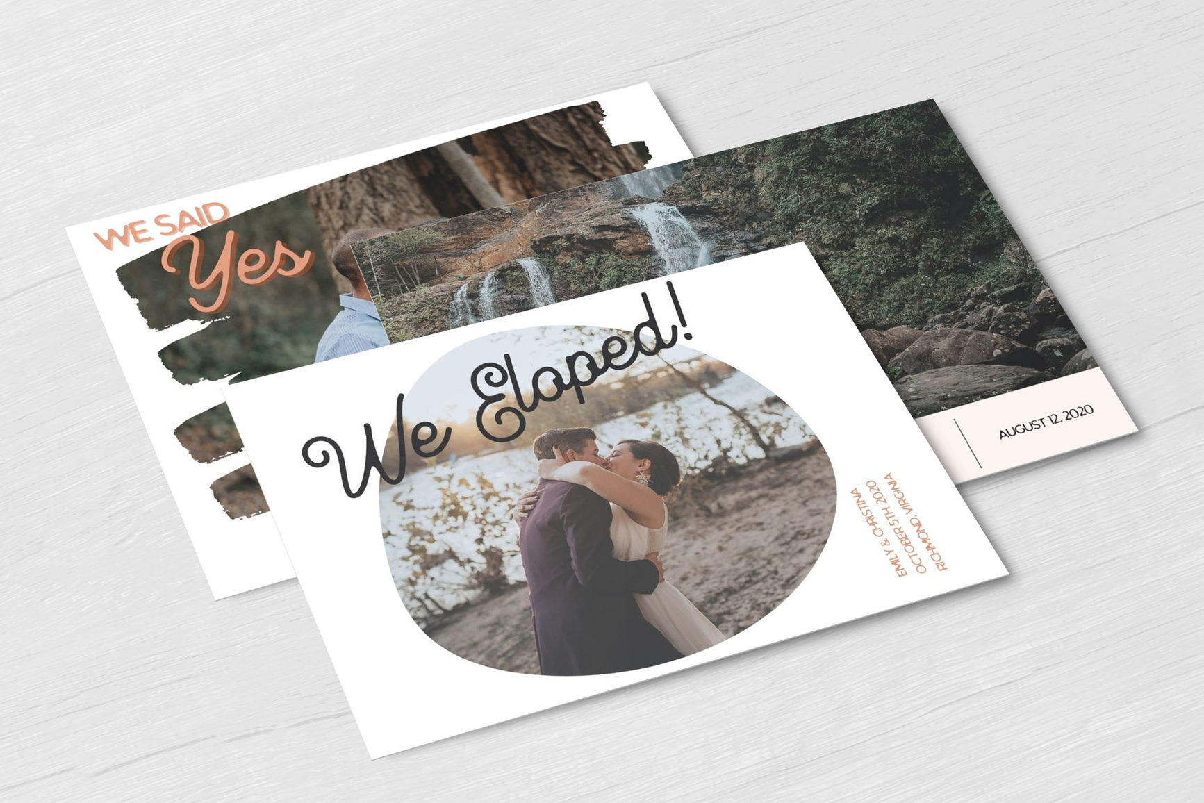 Three different elopement wedding announcement postcards in a stack