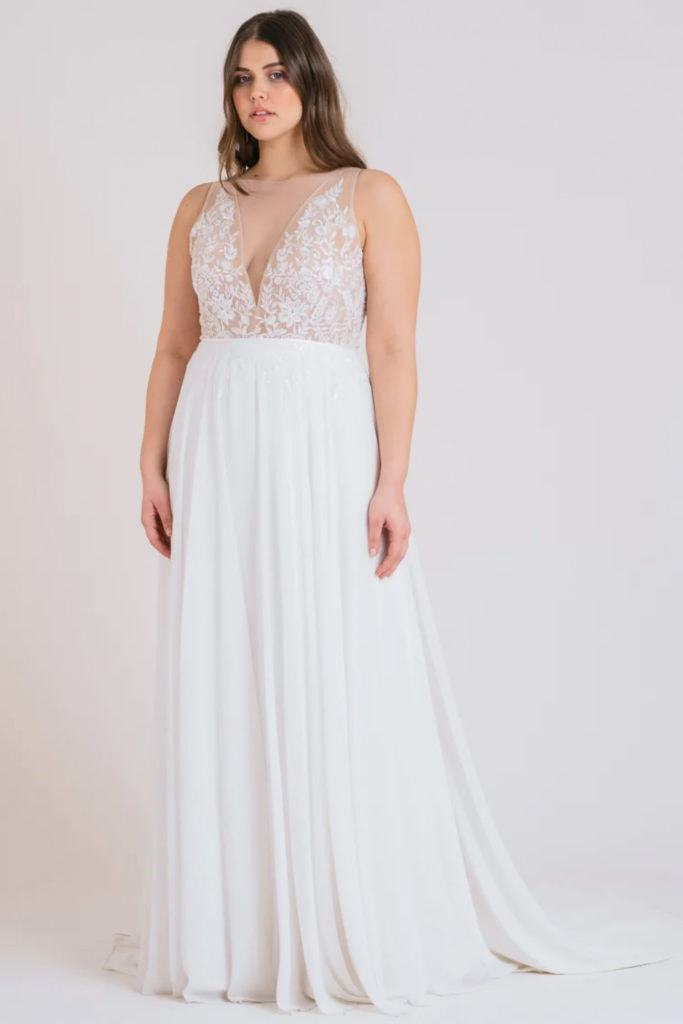 Flattering elopement dress with a-line skirt and fitted bodice.